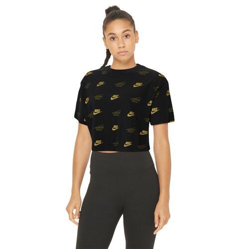 (取寄)ナイキ レディース グラム ダンク クロップ Tシャツ Nike Women's Glam Dunk Crop T-Shirt Black