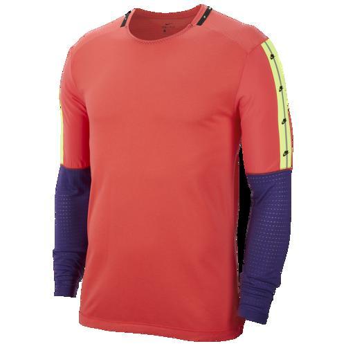 【クーポンで最大2000円OFF】(取寄)ナイキ メンズ Tシャツ 長袖 ロンT ワイルド ラン ロングスリーブ トップ Nike Men's Wild Run L/S Top Ember Glow Court Purple Black