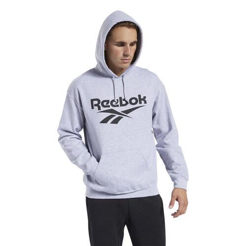 (取寄)リーボック メンズ ロゴ プルオーバー フーディ Reebok Men's Logo Pullover Hoodie Medium Grey Heather Black