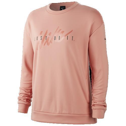 【クーポンで最大2000円OFF】(取寄)ナイキ レディース サーマ フリース オール タイム スクリプト クルー Nike Women's Therma Fleece All Time Script Crew Pink Quartz Black