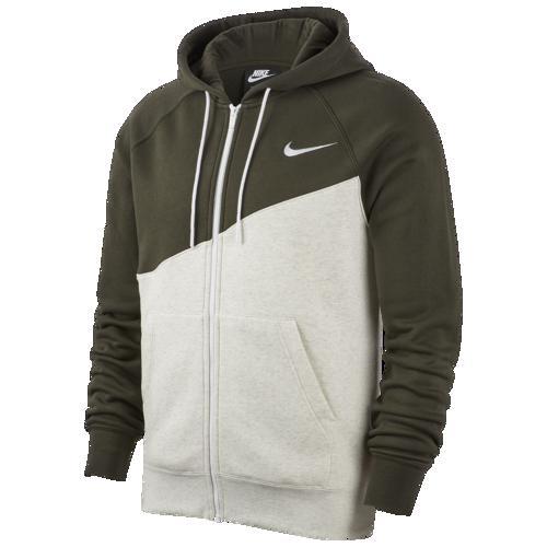 (取寄)ナイキ メンズ パーカー スウッシュ フルジップ フーディ Nike Men's Swoosh Full-Zip Hoodie Oatmeal Heather Sequoia White