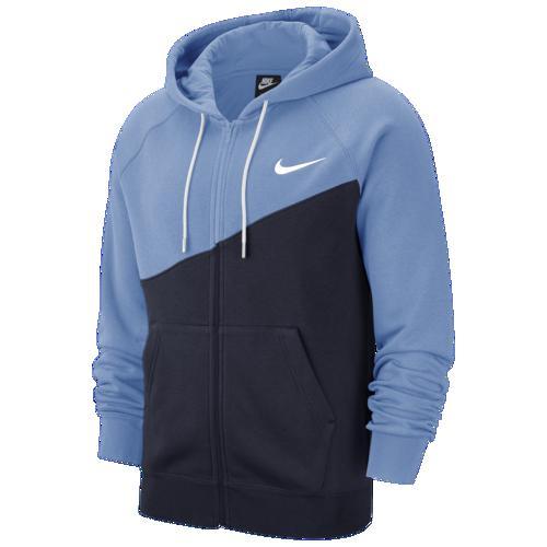 (取寄)ナイキ メンズ パーカー スウッシュ フルジップ フーディ Nike Men's Swoosh Full-Zip Hoodie Obsidian Light Blue White