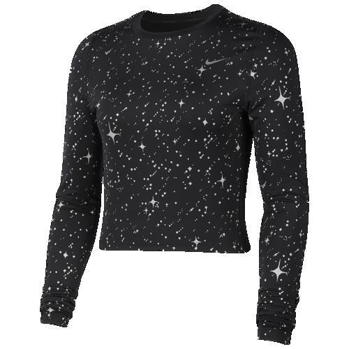 (取寄)ナイキ レディース プロ スターリー ナイト メタリック ロングスリーブ Tシャツ Nike Women's Pro Starry Night Metallic L/S T-Shirt Black Black Thunder Grey