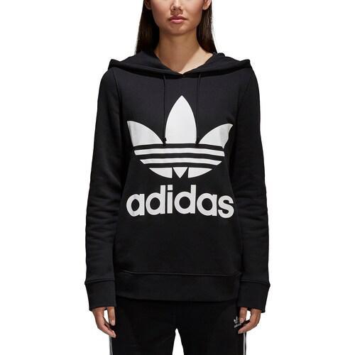 (取寄)アディダス レディース オリジナルス アディカラー トレフォイル フーディ Women's adidas Originals Adicolor Trefoil Hoodie 黒 白い