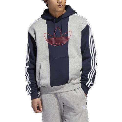 (取寄)アディダス メンズ オリジナルス オフコート トレフォイル フーディ Men's adidas Originals Offcourt Trefoil Hoodie Medium Grey Heather Legend Ink