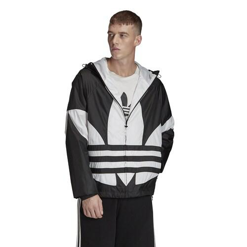 【クーポンで最大2000円OFF】(取寄)アディダス メンズ オリジナルス ビッグ トレフォイル ウインドブレーカー Men's adidas Originals Big Trefoil Windbreaker Black White
