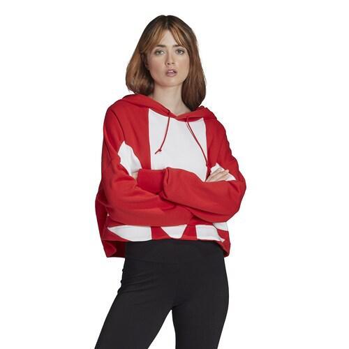(取寄)アディダス レディース オリジナルス アディカラー ビッグ トレフォイル クロップ フーディ Women's adidas Originals Adicolor Big Trefoil Crop Hoodie Lush Red White