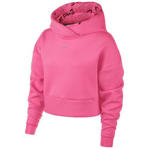 (取寄)ナイキ レディース プロ フリース フーディ Nike Women's Pro Fleece Hoodie Digital Pink Metallic Silver