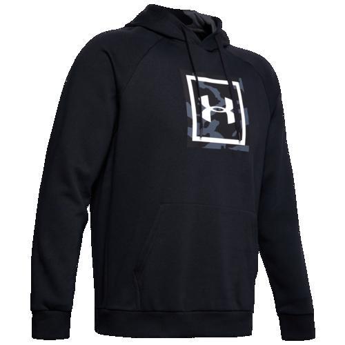 (取寄)アンダーアーマー メンズ ライバル プリンテッド フーディ Underarmour Men's Rival Printed Hoodie Black White