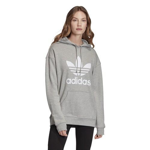 【エントリーでポイント5倍】(取寄)アディダス レディース オリジナルス アディカラー トレフォイル フーディ Women's adidas Originals Adicolor Trefoil Hoodie Medium Grey Heather White