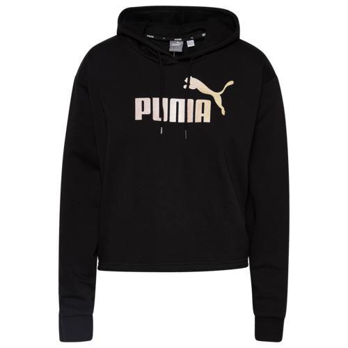 (取寄)プーマ レディース プーマ ESS+ クロップド フーディ Women's PUMA ESS+ Cropped Hoodie Puma Black Gold