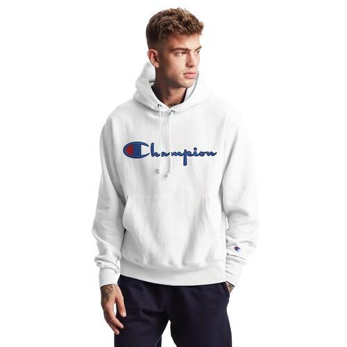 (取寄)チャンピオン メンズ リバース ウィーブ スクリプト ロゴ フーディ Champion Men's Reverse Weave Script Logo Hoodie White