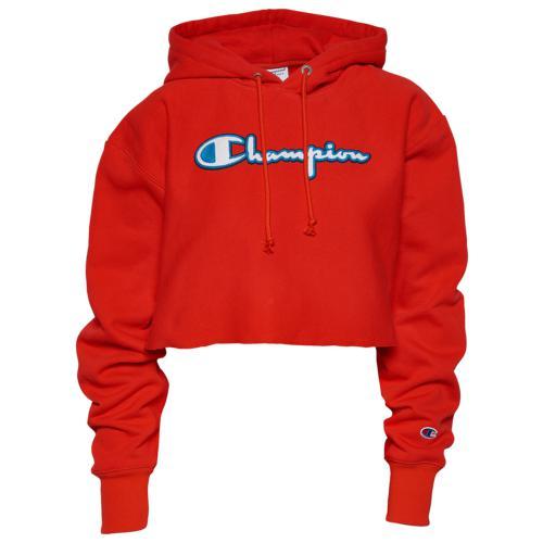 (取寄)チャンピオン レディース クロップ フーディ Champion Women's Crop Hoodie Red