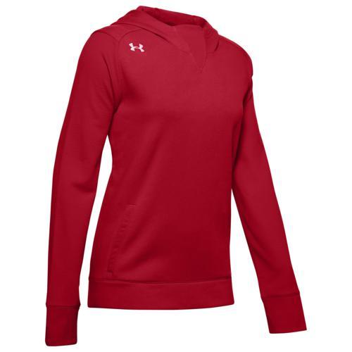 (取寄)アンダーアーマー レディース チーム エレベイティッド フリース フーディ Underarmour Women's Team Elevated Fleece Hoodie Red White