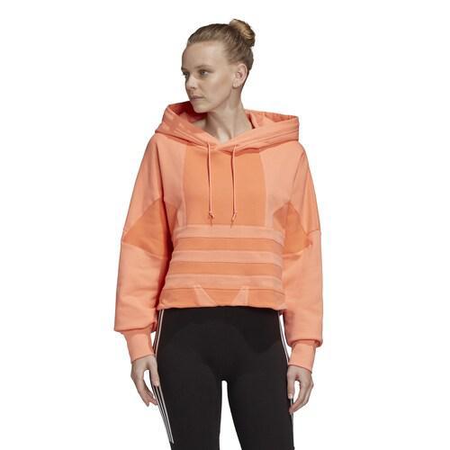 (取寄)アディダス レディース オリジナルス アディカラー トレフォイル ラージ ロゴ クロップ フーディ Women's adidas Originals Adicolor Trefoil Large Logo Crop Hoodie Chalk Coral