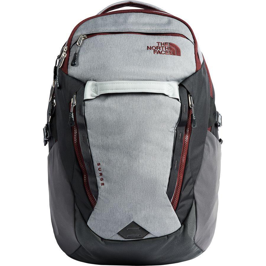 (取寄)ノースフェイス サージ 31L バックパック The North Face Men's Surge 31L Backpack Zinc Grey Light Heather/Sequoia Red