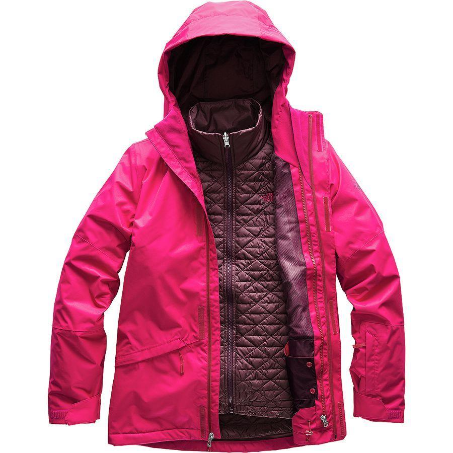 (取寄)ノースフェイス レディース ThermoBall スノー トリクラメイト フーデッド 3-In-1 ジャケット The North Face Women ThermoBall Snow Triclimate Hooded 3-In-1 Jacket Cerise Pink