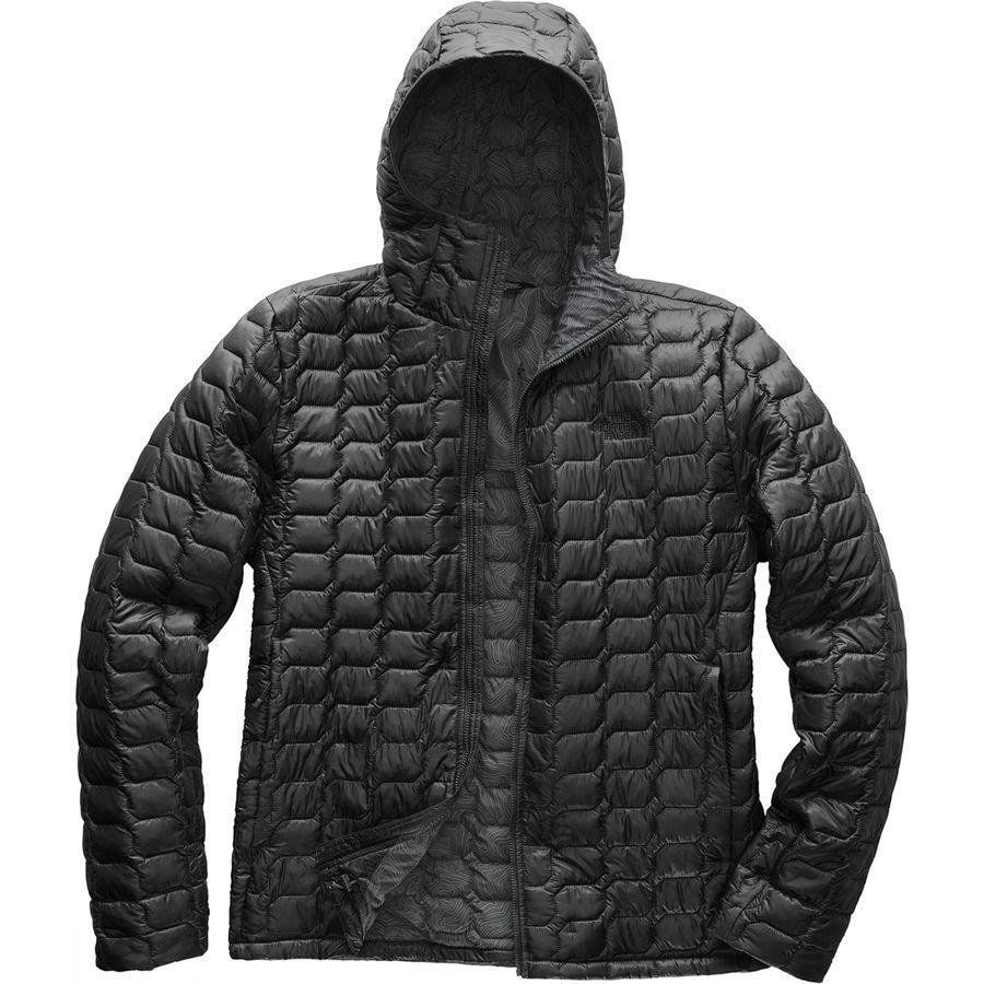 (取寄)ノースフェイス メンズ ThermoBall フーデッド インサレーテッド ジャケット The North Face Men's ThermoBall Hooded Insulated Jacket Asphalt Grey/Asphalt Grey Linear Topo Print