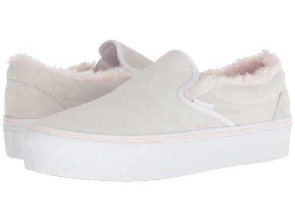 (order) Vans (vans) sneakers classical music slip unisex men gap Dis Vans  Unisex Classic Slip (Suede Fur) True White Pink f6524147c