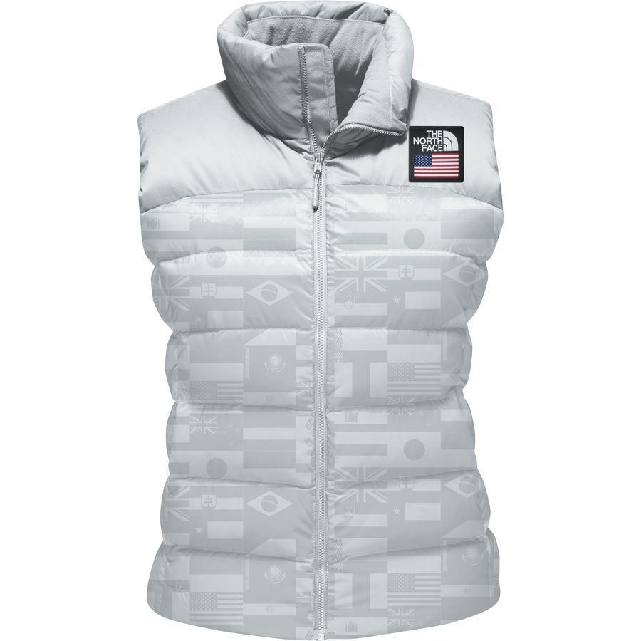 (取寄)ノースフェイス レディース インターナショナル コレクション ヌプシ ベスト The North Face Women International Collection Nuptse Vest Glacier Grey Flag Print