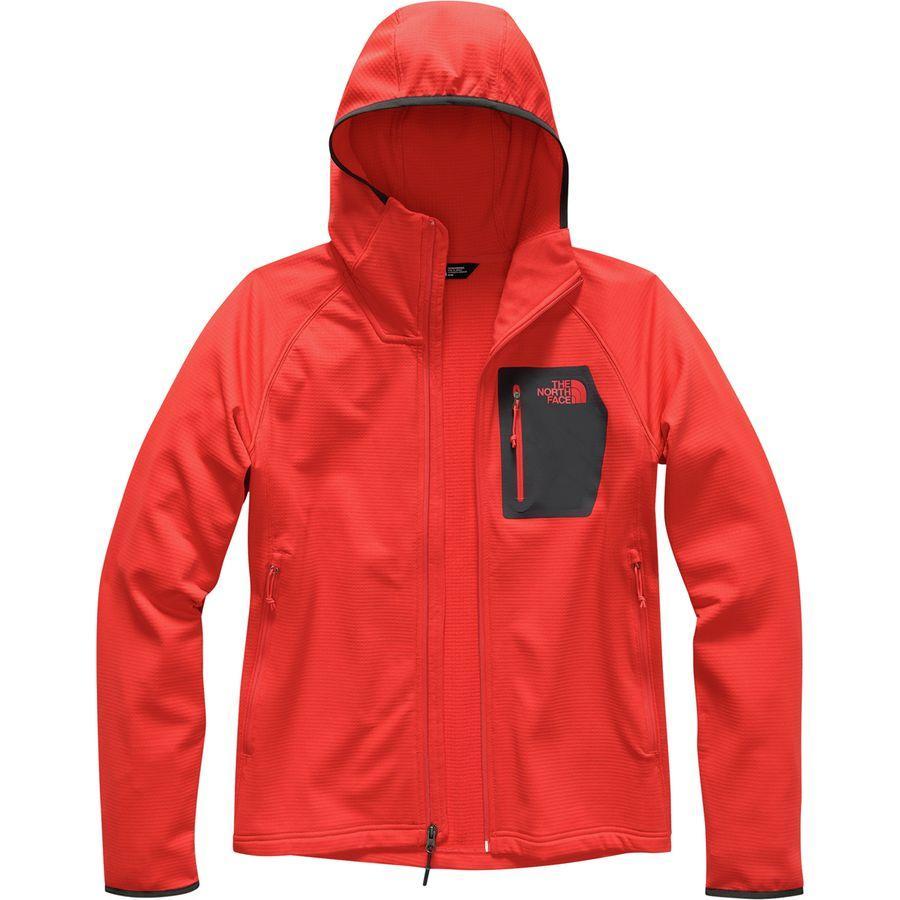 (取寄)ノースフェイス メンズ ボアード フーデッド フリース ジャケット The North Face Men's Borod Hooded Fleece Jacket Fiery Red/Asphalt Grey