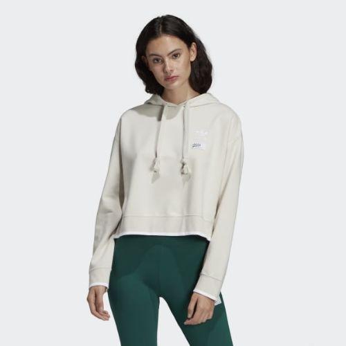 (取寄)アディダス オリジナルス レディース クロップド パーカー adidas originals Women Cropped Hoodie Raw White