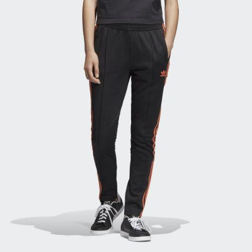 (取寄)アディダス オリジナルス レディース SST トラック パンツ adidas originals Women SST Track Pants Black / Craft Orange