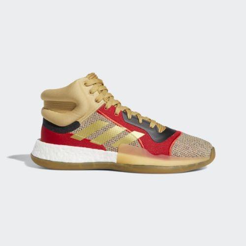 (取寄)アディダス メンズ マーキー ブースト バスケットボールシューズ adidas Men's Marquee Boost Shoes Raw Sand / Gold Metallic / Scarlet