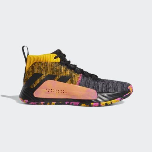 【クーポンで最大2000円OFF】(取寄)アディダス メンズ デイム 5 バスケットボールシューズ adidas Men's Dame 5 Shoes Core Black / Active Gold / Shock Pink