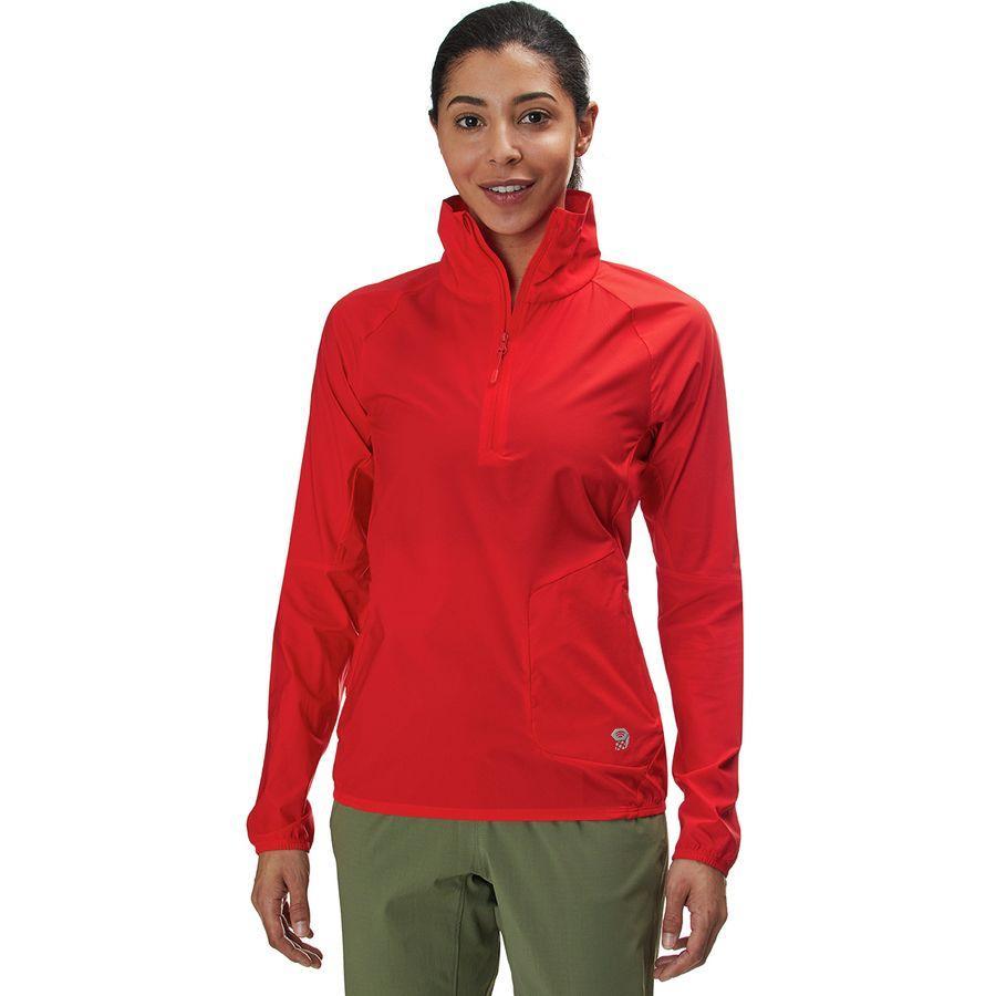 (取寄)マウンテンハードウェア レディース コア プレシェル プルオーバー ジャケット Mountain Hardwear Women Kor Preshell Pullover Jacket Fiery Red