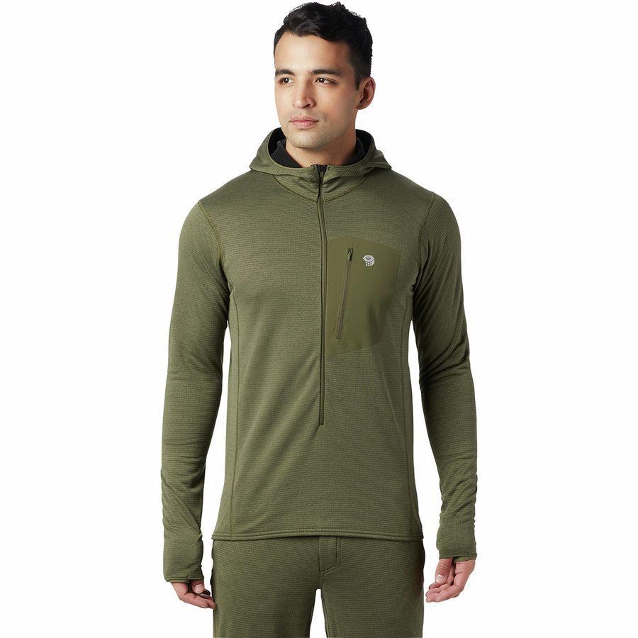 【ハイキング 登山 トレッキング 山登り アウトドア カジュアル】【ジャケット アウター ウェア】【メンズ 男性用】 (取寄)マウンテンハードウェア メンズ タイプ 2 ファン 3/4-Zipフーデッド ジャケット Mountain Hardwear Men's Type 2 Fun 3/4-Zip Hooded Jacket Dark Army