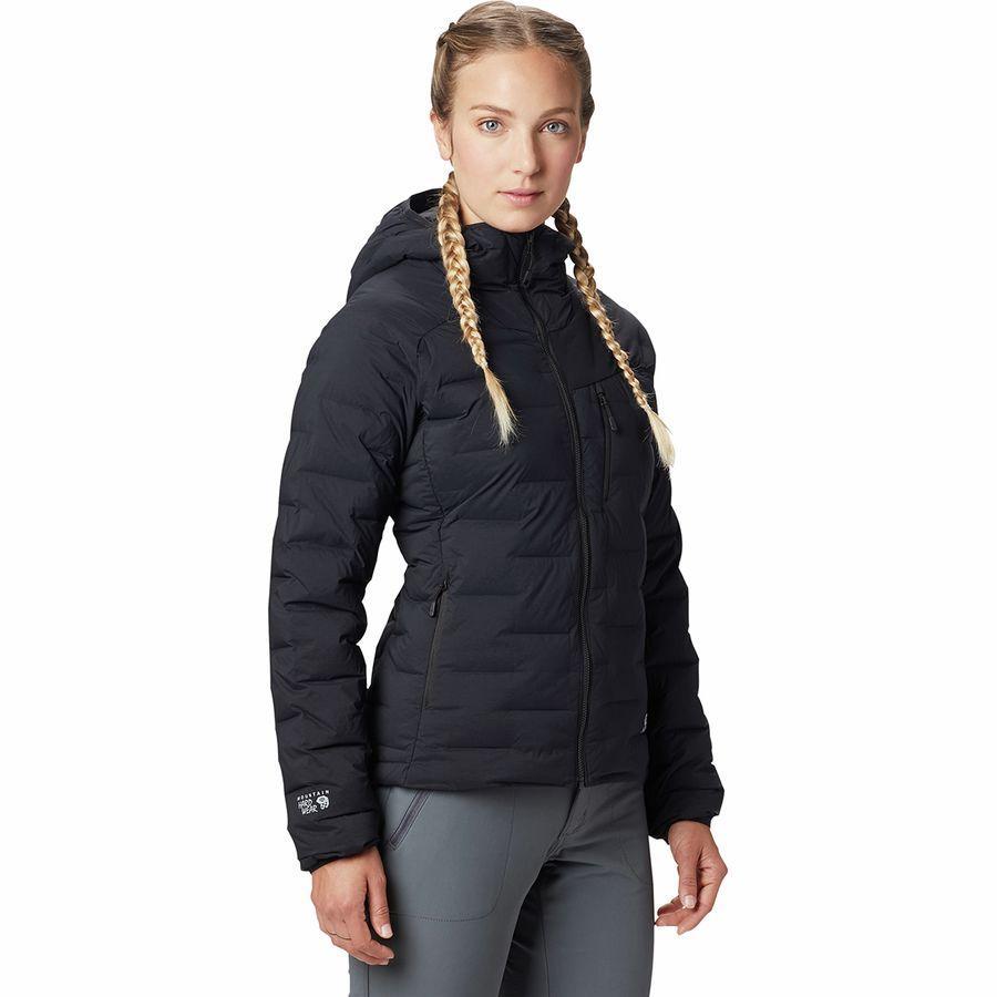 【エントリーでポイント5倍】(取寄)マウンテンハードウェア レディース スーパー DS ストレッチダウン フーデッド ジャケット Mountain Hardwear Women Super DS Stretchdown Hooded Jacket Black