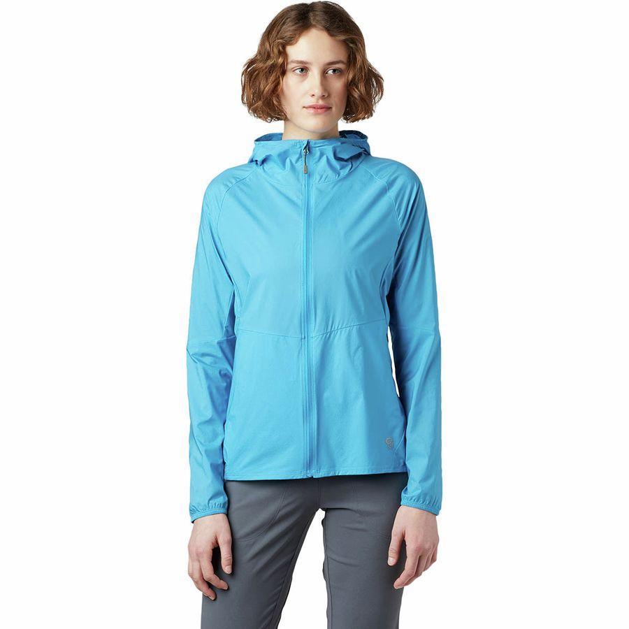 (取寄)マウンテンハードウェア レディース コア プレシェル フーデッド ジャケット Mountain Hardwear Women Kor Preshell Hooded Jacket Electric Sky