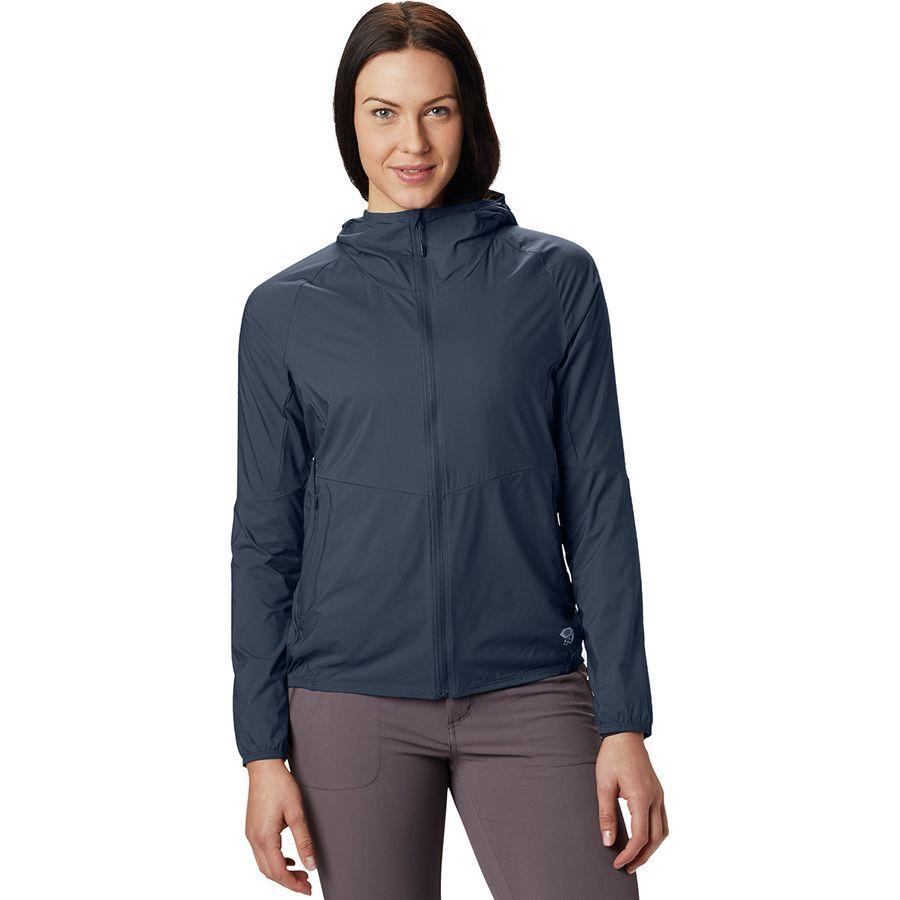 【ハイキング 登山 トレッキング 山登り アウトドア カジュアル】【ジャケット アウター ウェア】【レディース 女性用】 (取寄)マウンテンハードウェア レディース コア プレシェル フーデッド ジャケット Mountain Hardwear Women Kor Preshell Hooded Jacket Zinc