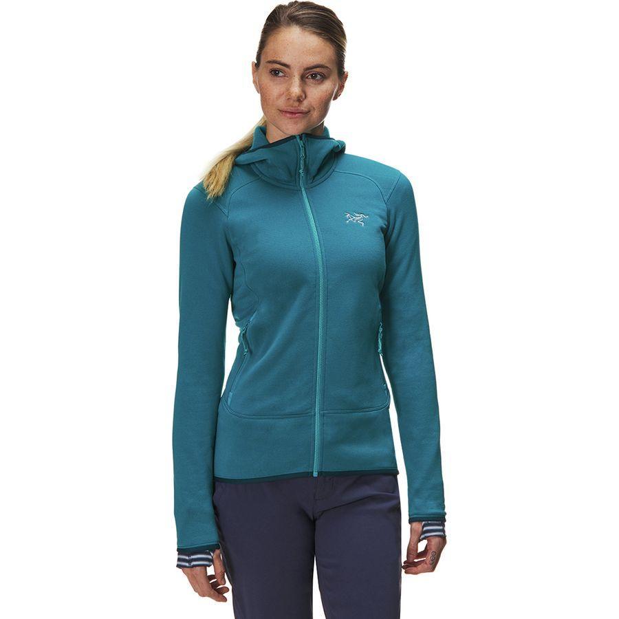 【ハイキング 登山 マウンテン アウトドア】【ウェア アウター】【山ガール ファッション ブランド】【大きいサイズ ビッグサイズ】 (取寄)アークテリクス レディース カイヤナイト フーデッド フリース ジャケット Arc'teryx Women Kyanite Hooded Fleece Jacket Dark Firoza