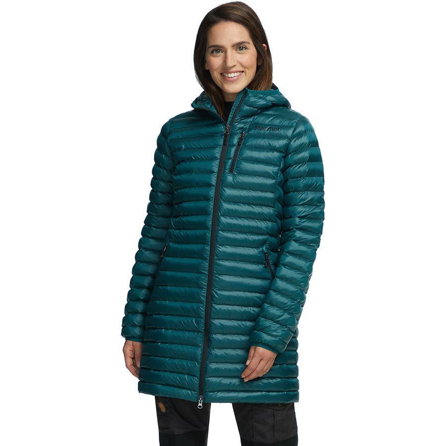 (取寄)マーモット レディース アバント フェザーレス フーデッド ロング ジャケット Marmot Women Avant Featherless Hooded Long Jacket Deep Teal