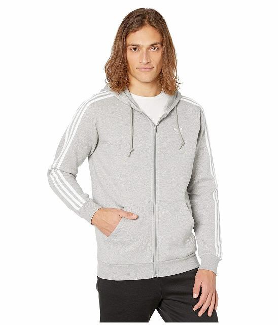 (取寄)アディダス オリジナルス メンズ 3ーストライプ フルジップ パーカー adidas originals Men's 3-Stripes Full Zip Hoodie Medium Grey Heather