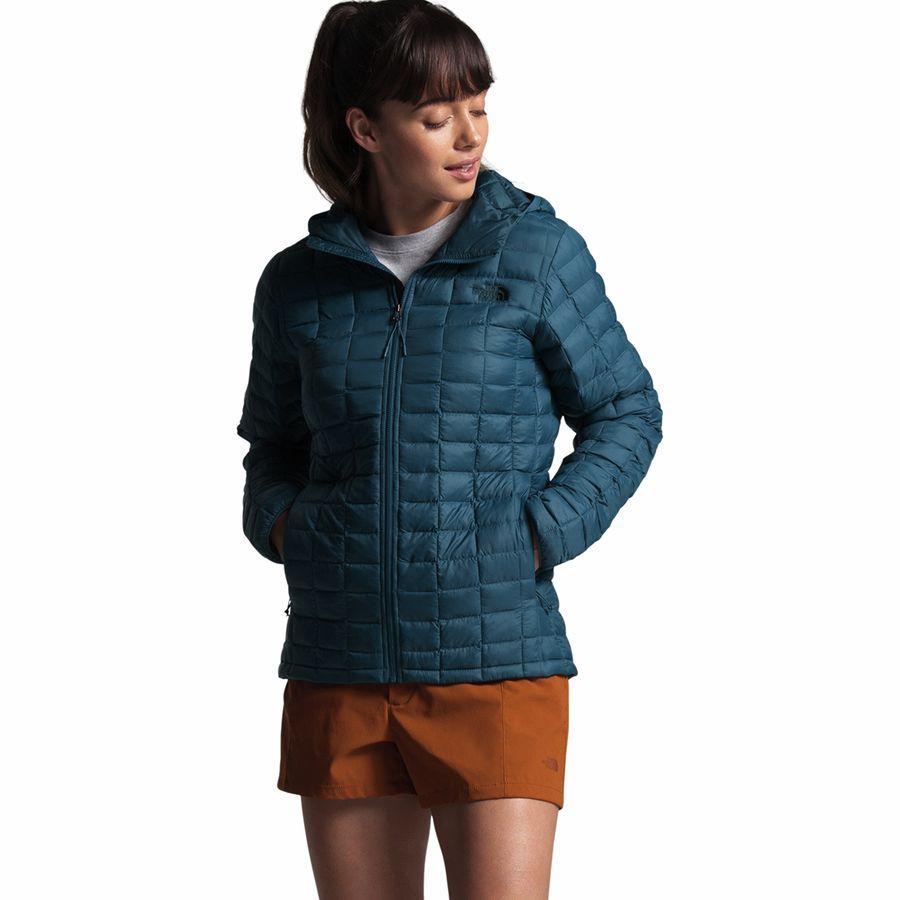 (取寄)ノースフェイス レディース サーモボール エコ フーデッド インサレーテッド ジャケット The North Face Women Thermoball Eco Hooded Insulated Jacket Blue Wing Teal Matte