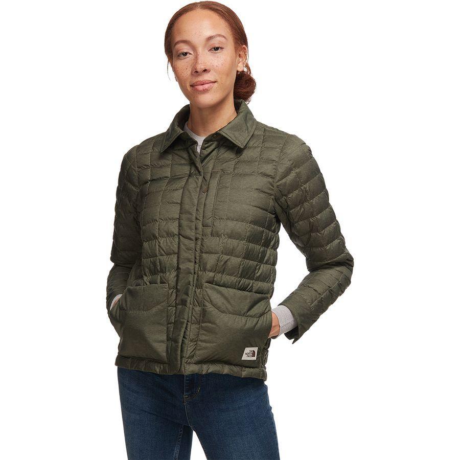 (取寄)ノースフェイス レディース サーモボール エコ スナップ インサレーテッド ジャケット The North Face Women Thermoball Eco Snap Insulated Jacket New Taupe Green Heather/British Khaki