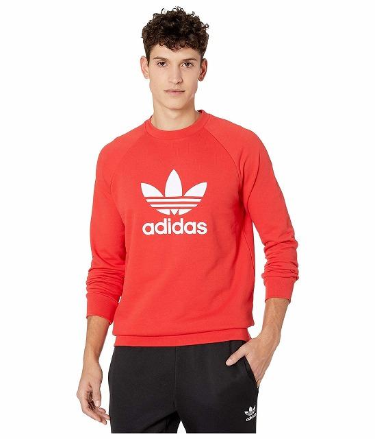 (取寄)アディダス オリジナルス メンズ トレフォイル クルー  トレーナー adidas originals Men's adidas Originals Trefoil Crew Sweatshirt Lush Red