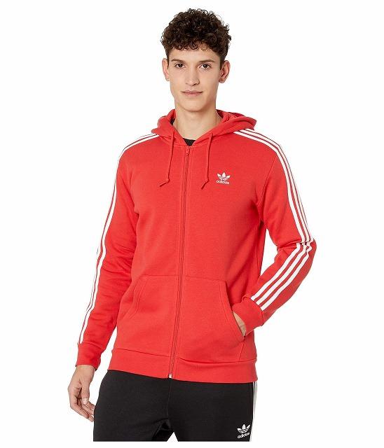 (取寄)アディダス オリジナルス メンズ 3ーストライプ フルジップ パーカー adidas originals Men's adidas Originals 3 Hoodie Lush Red