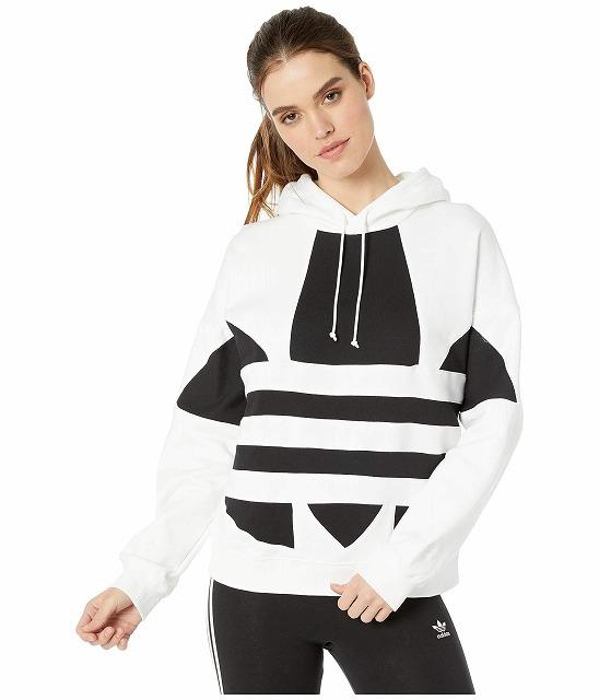 【クーポンで最大2000円OFF】(取寄)アディダス オリジナルス レディース ラージ ロゴ  パーカー adidas originals Women adidas Originals Large Logo Hoodie White/Black