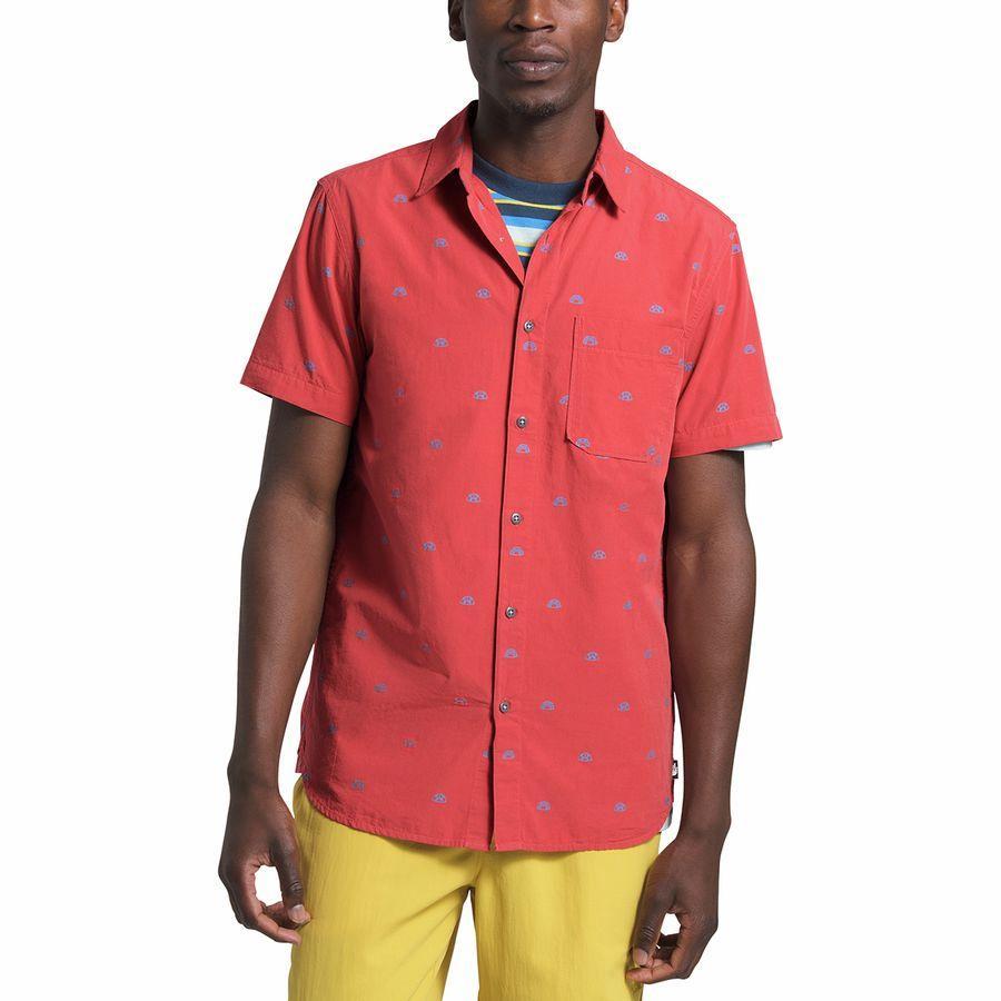 (取寄)ノースフェイス メンズ ショート スリーブ ベイトレイル シャツ The North Face Men's Short Sleeve Baytrail Shirt Sunbaked Red North Star Clip Jacquard
