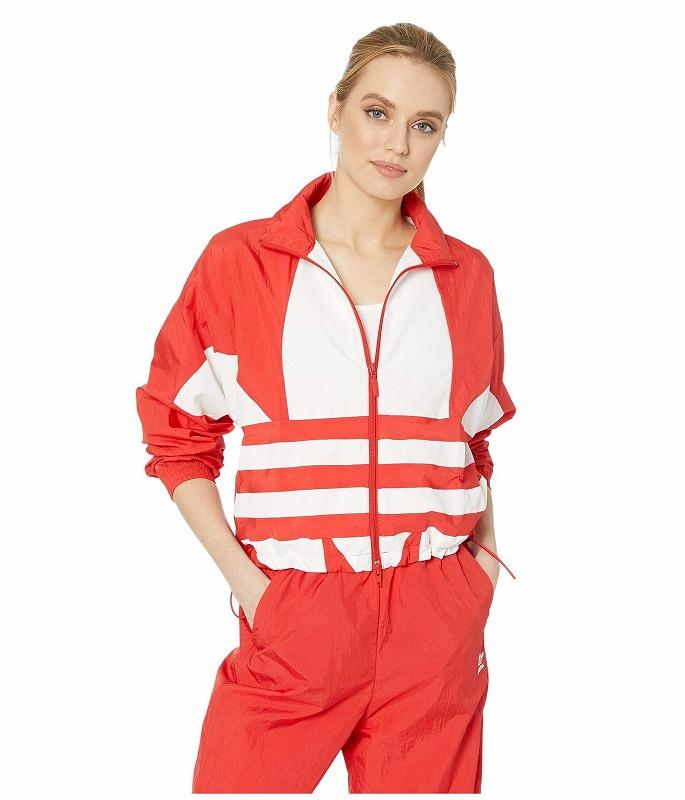 【クーポンで最大2000円OFF】(取寄)アディダス オリジナルス レディース ラージ ロゴ トラック トップ adidas originals Women Large Logo Track Top Lush Red/White