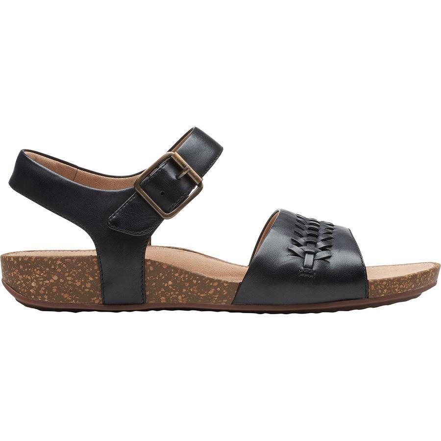 (取寄)クラークス レディース アン ペリー ウェイ サンダル Clarks Women Un Perri Way Sandal Black Leather