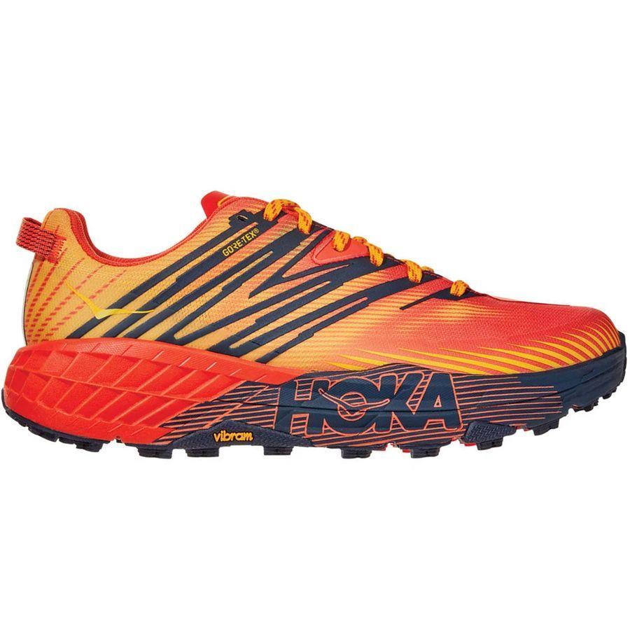 (取寄)ホカ オネ オネ メンズ スピードゴート 4Gtx トレイル ランニング シューズ HOKA ONE ONE Men's Speedgoat 4 GTX Trail Running Shoe Running Shoes Mandarin Red/Gold Fusion