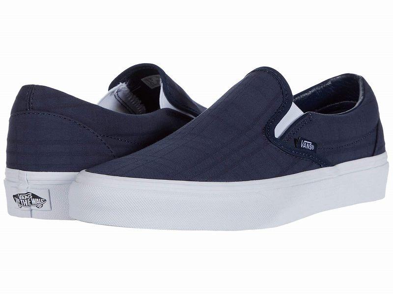 (取寄)Vans(バンズ) スニーカー クラシック スリップーオン メンズ Vans Men's Classic Slip (Tonal Plaid) Dress Blues/True White