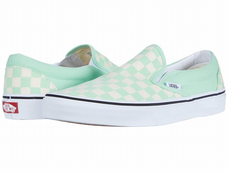 (取寄)Vans(バンズ) スニーカー クラシック スリップーオン ユニセックス メンズ レディース Vans Unisex Classic Slip (Checkerboard) Green Ash/True White