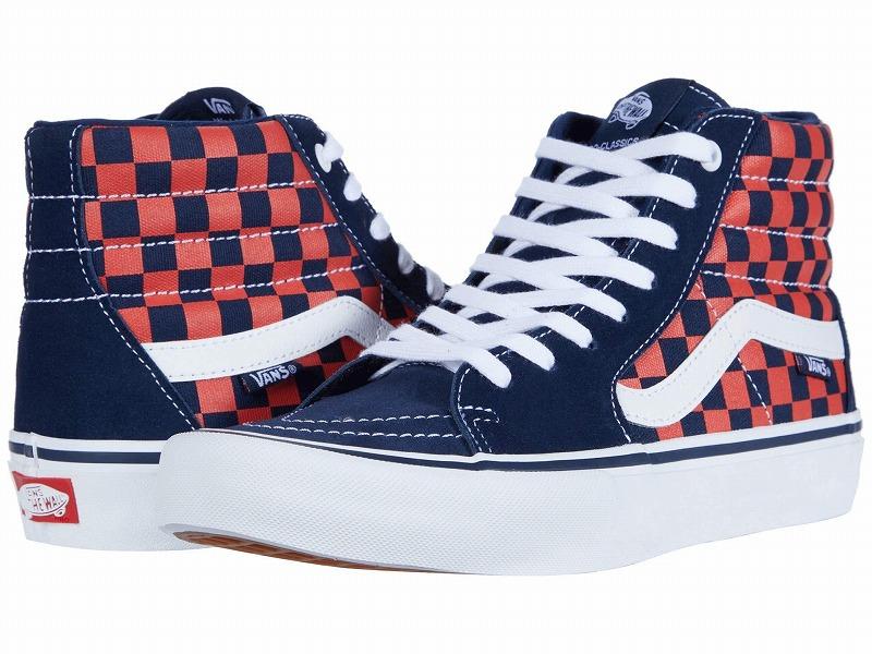 (取寄)Vans(バンズ) スニーカー スケート ハイ プロ メンズ Vans Men's SK8 Hi Pro  (Checkerboard) Navy/Orange