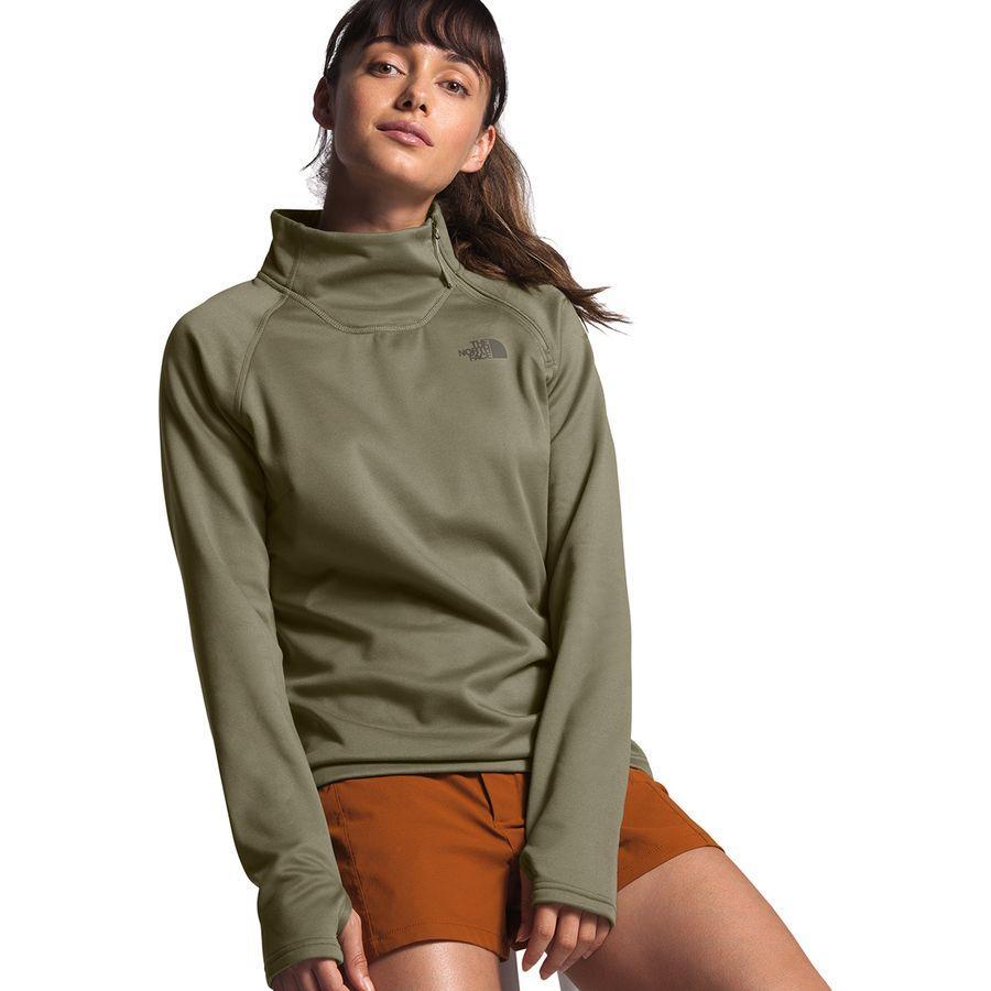 (取寄)ノースフェイス レディース キャニオンランズ 1/4-Zip フリース プルオーバー The North Face Women Canyonlands 1/4-Zip Fleece Pullover Burnt Olive Green